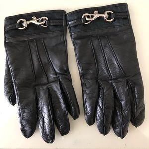 Coach leather cashmere gloves